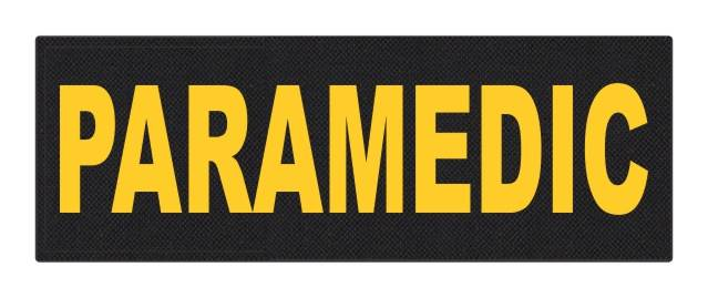 PARAMEDIC ID Patch - 8.5x3 - Gold Lettering - Black Backing - Hook Fabric