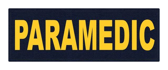 PARAMEDIC ID Patch - 8.5x3 - Gold Lettering - Navy Backing - Hook Fabric