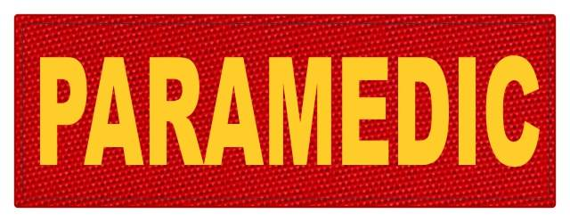 PARAMEDIC ID Patch - 8.5x3 - Gold Lettering - Red Backing - Hook Fabric
