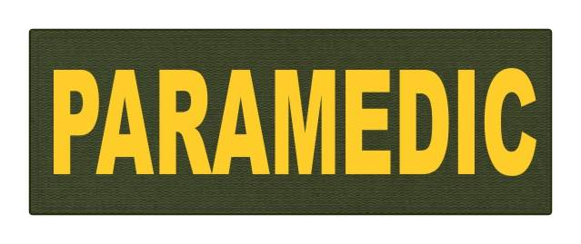 PARAMEDIC ID Patch - 8.5x3 - Gold Lettering - OD Green Backing - Hook Fabric