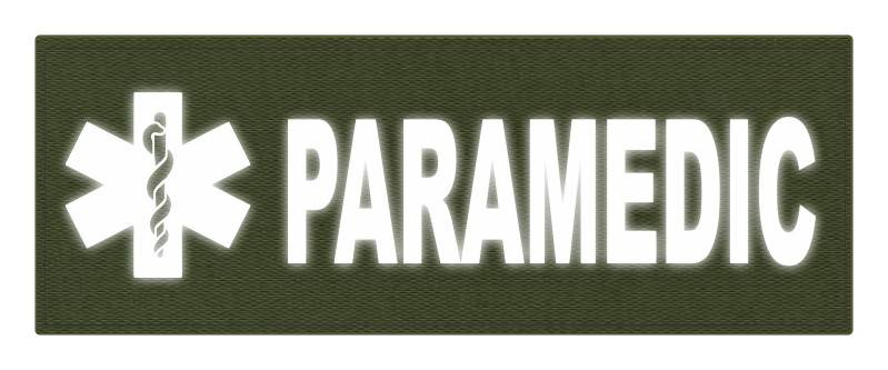 PARAMEDIC STAR OF LIFE Patch - 11x4 - Reflective White Lettering - OD Green Backing - Hook Fabric