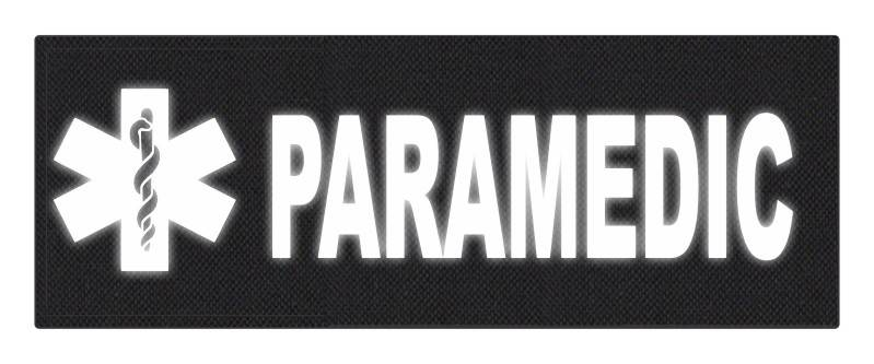 PARAMEDIC STAR OF LIFE Patch - 11x4 - Reflective White Lettering - Black Backing - Hook Panel