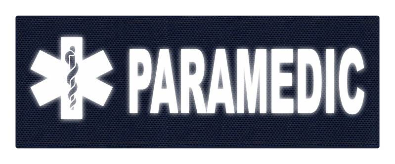 PARAMEDIC STAR OF LIFE Patch - 11x4 - Reflective White Lettering - Navy Backing - Hook Fabric