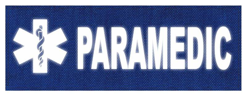 PARAMEDIC STAR OF LIFE Patch - 11x4 - Reflective White Lettering - Royal Blue Backing - Hook Fabric