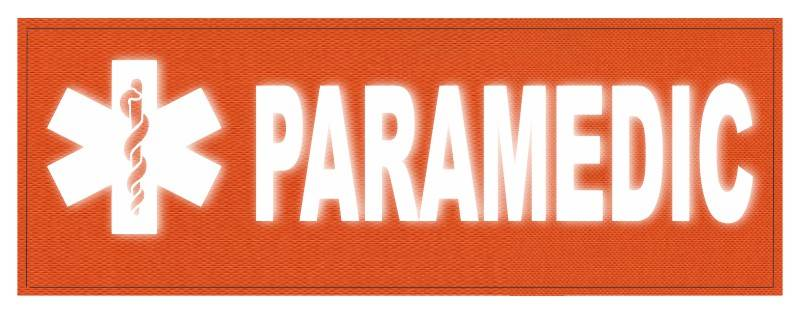 PARAMEDIC STAR OF LIFE Patch - 11x4 - Reflective White Lettering - Orange Backing - Hook Panel