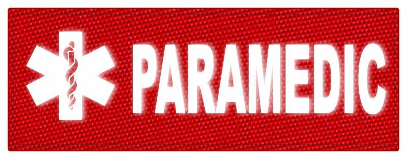 PARAMEDIC STAR OF LIFE Patch - 11x4 - Reflective White Lettering - Red Backing - Hook Panel
