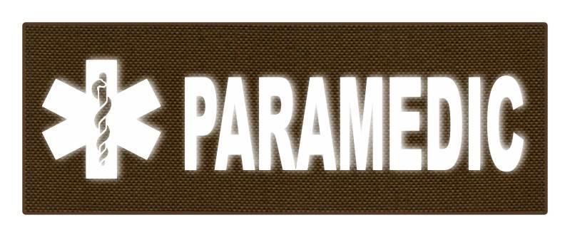 PARAMEDIC STAR OF LIFE Patch - 11x4 - Reflective White Lettering - Coyote Backing - Hook Panel