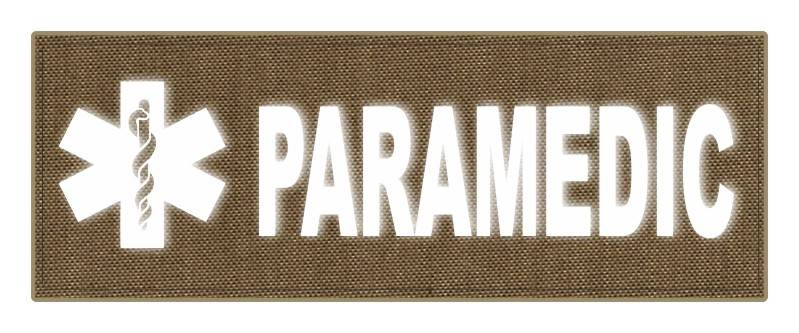PARAMEDIC STAR OF LIFE Patch - 11x4 - Reflective White Lettering - Tan Backing - Hook Panel