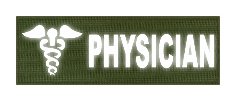 PHYSICIAN Caduceus ID Patch - 6x2 - Reflective Lettering - OD Green Backing - Hook Fabric