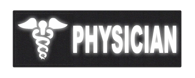 PHYSICIAN Caduceus ID Patch - 6x2 - Reflective Lettering - Black Backing - Hook Fabric