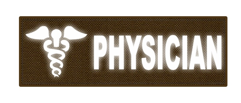 PHYSICIAN Caduceus ID Patch - 6x2 - Reflective Lettering - Coyote Backing - Hook Fabric