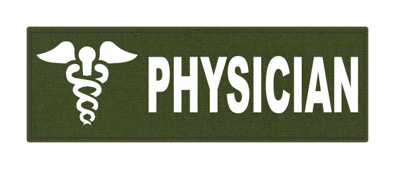 PHYSICIAN Caduceus ID Patch - 6x2 - White Lettering - OD Green Backing - Hook Fabric