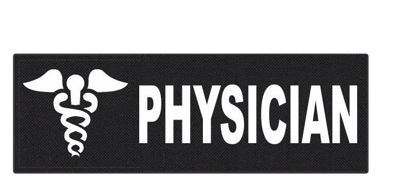 PHYSICIAN Caduceus ID Patch - 6x2 - White Lettering - Black Backing - Hook Fabric