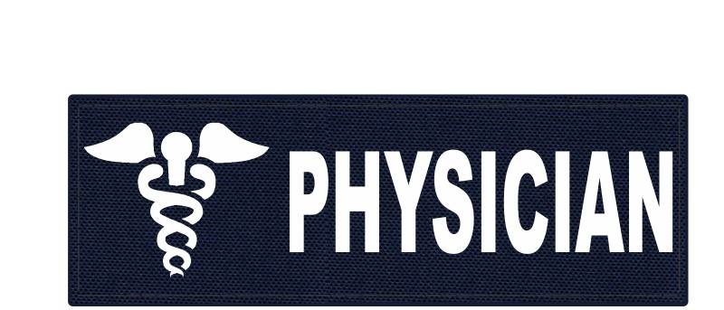 PHYSICIAN Caduceus ID Patch - 6x2 - White Lettering - Navy Backing - Hook Fabric