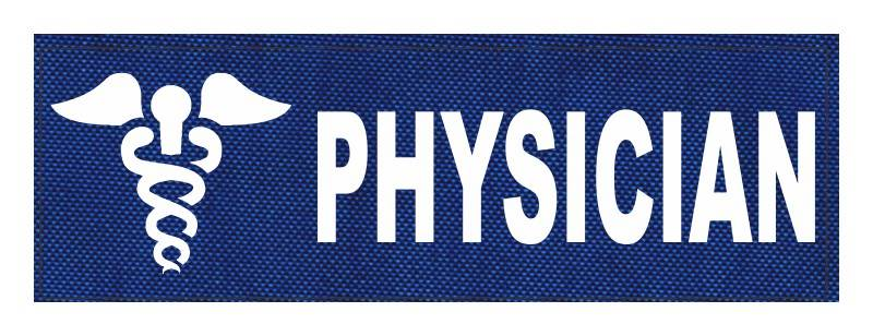 PHYSICIAN Caduceus ID Patch - 6x2 - White Lettering - Royal Blue Backing - Hook Fabric