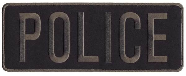 POLICE Back Patch - 11 x 4 - Gray Lettering - Black Backing