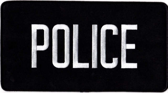 POLICE Back Patch - 11 x 6 - White Lettering - Black Backing