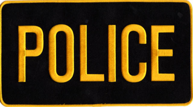 POLICE Back Patch - 11 x 6 - Gold Lettering - Black Backing
