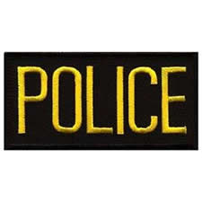 POLICE Chest Patch, 4 x 2 - Gold Lettering - Black Backing