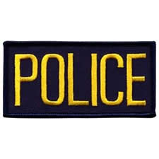 POLICE Chest Patch, 4 x 2 - Gold Lettering - Navy Backing