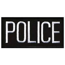POLICE Chest Patch, 4 x 2 - White Lettering - Black Backing