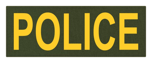 POLICE ID Patch - 11x4 - Gold Lettering - OD Green Backing - Hook Fabric