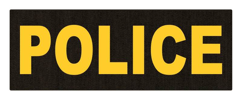 POLICE ID Patch - 11x4 - Gold Lettering - Ranger Green Backing - Hook Fabric
