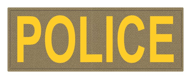 POLICE ID Patch - 11x4 - Gold Lettering - Tan Backing - Hook Fabric