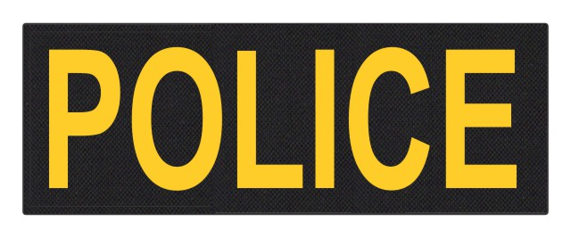 POLICE ID Patch - 11x4 - Gold Lettering - Black Backing - Hook Fabric