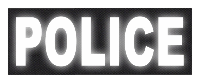 POLICE ID Patch - 11x4 - Reflective White Lettering - Black Backing - Hook Fabric