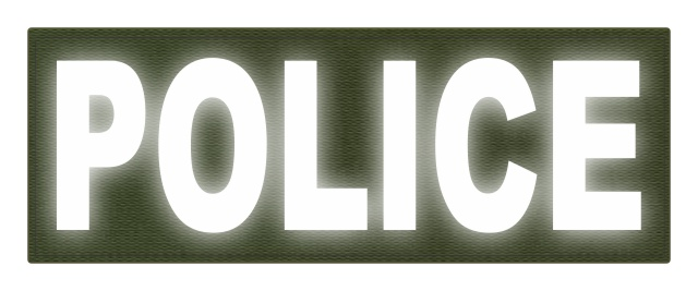 POLICE ID Patch - 11x4 - Reflective White Lettering - OD Green Backing - Hook Fabric