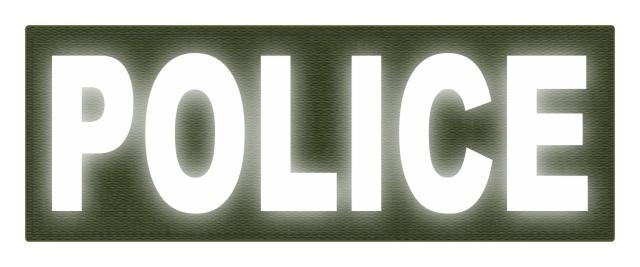 Reflective police back patch.