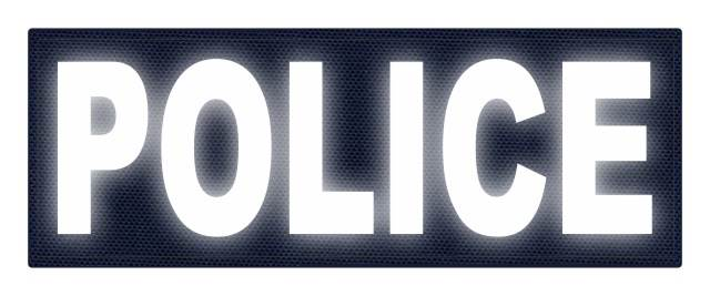 POLICE ID Patch - 11x4 - Reflective White Lettering - Navy Backing - Hook Fabric