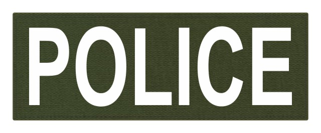 POLICE ID Patch - 11x4 - White Lettering - OD Green Backing - Hook Fabric