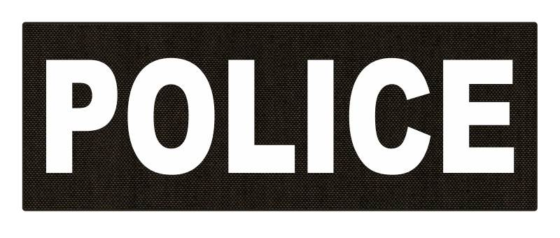 POLICE ID Patch - 11x4 - White Lettering - Ranger Green Backing - Hook Fabric