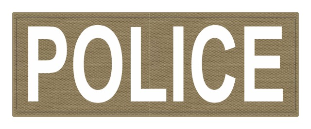 POLICE ID Patch - 11x4 - White Lettering - Tan Backing - Hook Fabric
