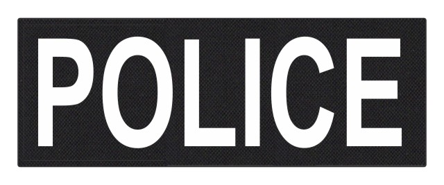 POLICE ID Patch - 11x4 - White Lettering - Black Backing - Hook Fabric