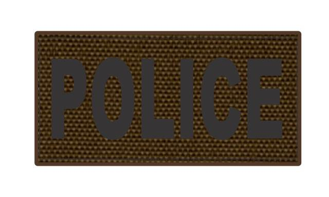 POLICE ID Patch - 4x2 - Black Lettering - Coyote Backing - Hook Fabric