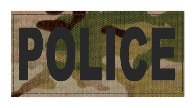 POLICE ID Patch - 4x2 - Black Lettering - Multicam Backing - Hook Fabric