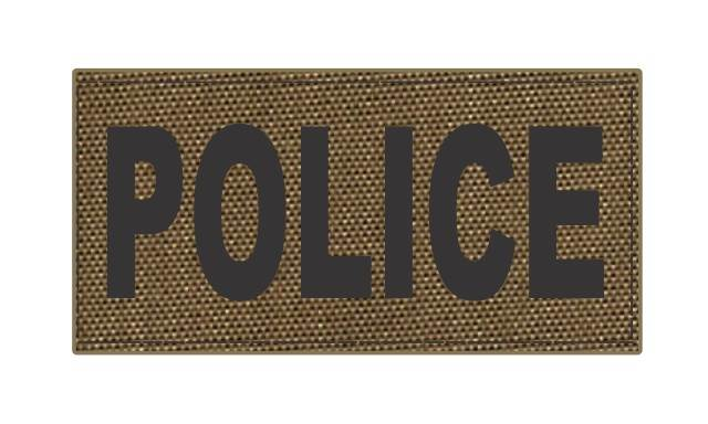 POLICE ID Patch - 4x2 - Black Lettering - Tan Backing - Hook Fabric