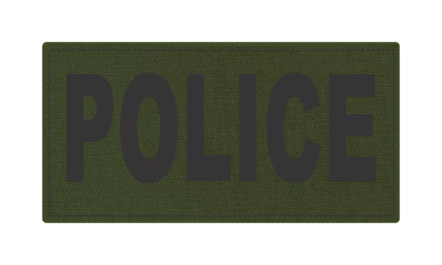 POLICE ID Patch - 4x2 - Black Lettering - OD Green Backing - Hook Fabric