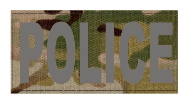 POLICE ID Patch - 4x2 - Gray Lettering - Multicam Backing - Hook Fabric