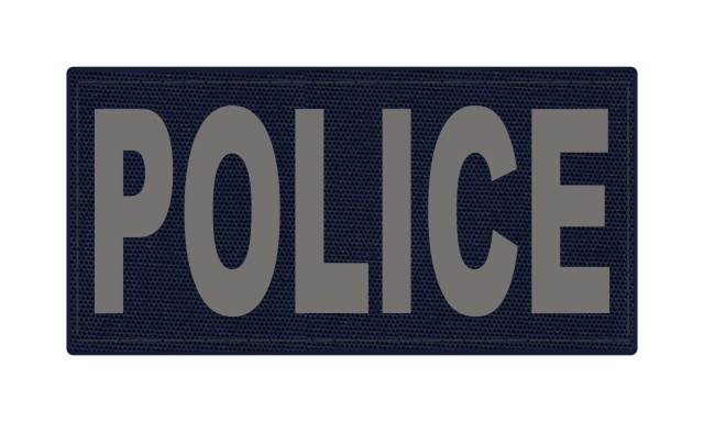 POLICE ID Patch - 4x2 - Gray Lettering - Navy Backing - Hook Fabric