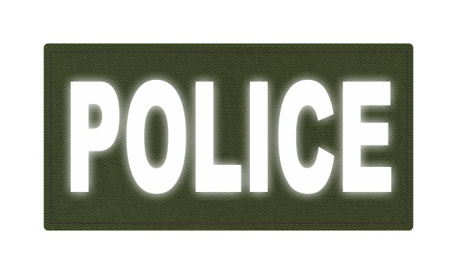 POLICE ID Patch - 4x2 - Reflective White Lettering - OD Green Backing - Hook Fabric