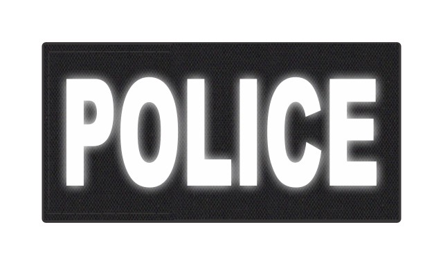 POLICE ID Patch - 4x2 - Reflective White Lettering - Black Backing - Hook Fabric