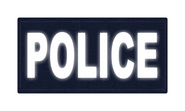 POLICE ID Patch - 4x2 - Reflective White Lettering - Navy Backing - Hook Fabric