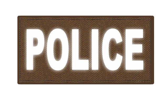 POLICE ID Patch - 4x2 - Reflective White Lettering - Coyote Backing - Hook Fabric