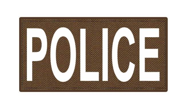 POLICE ID Patch - 4x2 - White Lettering - Coyote Backing - Hook Fabric