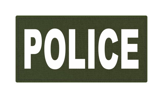 POLICE ID Patch - 4x2 - White Lettering - OD Green Backing - Hook Fabric