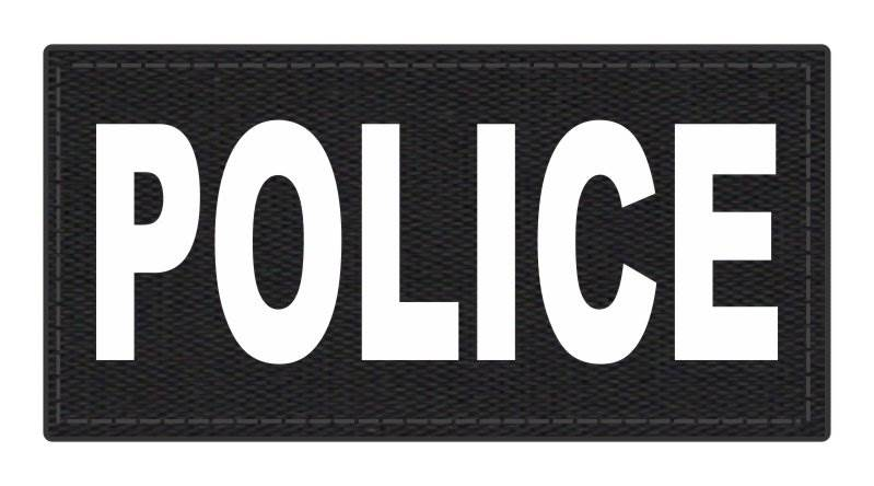 POLICE ID Patch - 4x2 - White Lettering - Black Backing - Hook Fabric